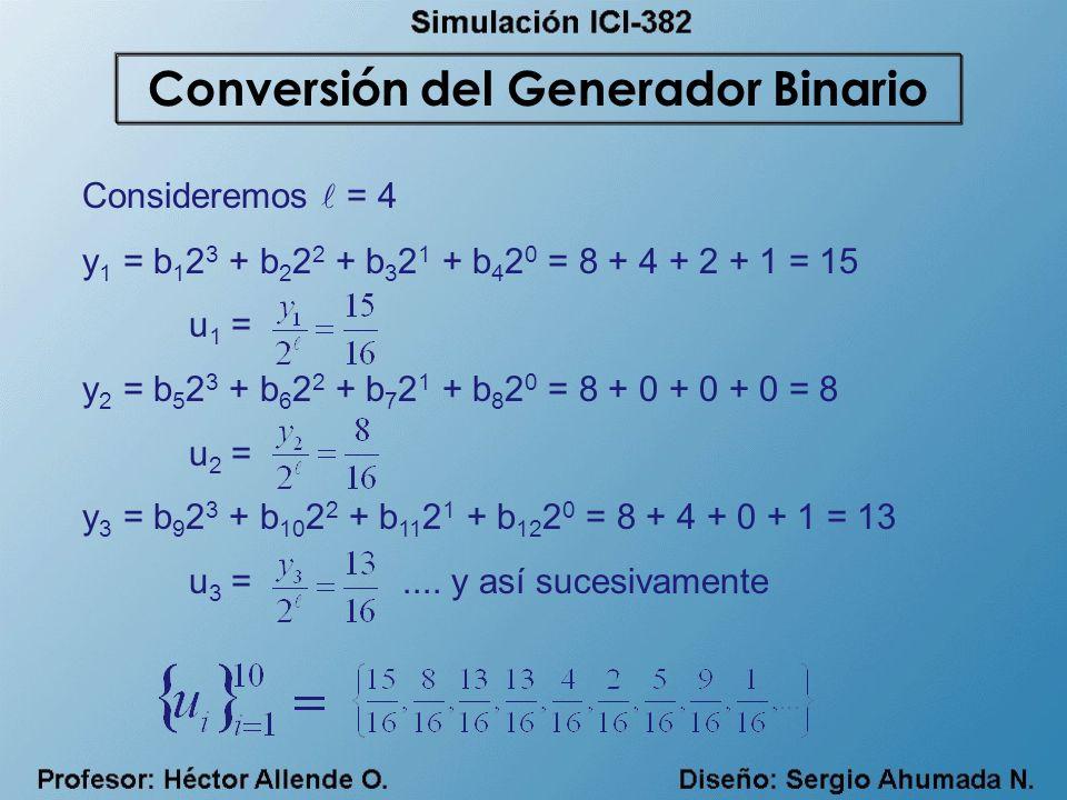 Consideremos = 4 y 1 = b 1 2 3 + b 2 2 2 + b 3 2 1 + b 4 2 0 = 8 + 4 + 2 + 1 = 15 u 1 = y 2 = b 5 2 3 + b 6 2 2 + b 7 2 1 + b 8 2 0 = 8 + 0 + 0 + 0 =