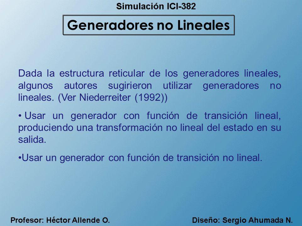 Dada la estructura reticular de los generadores lineales, algunos autores sugirieron utilizar generadores no lineales. (Ver Niederreiter (1992)) Usar