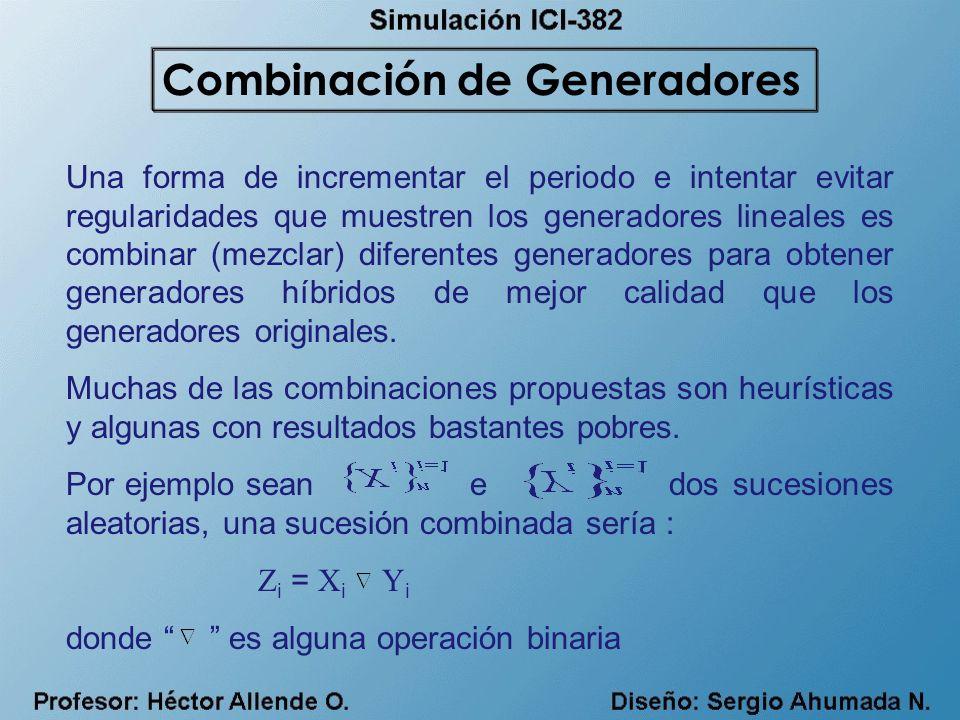 Una forma de incrementar el periodo e intentar evitar regularidades que muestren los generadores lineales es combinar (mezclar) diferentes generadores