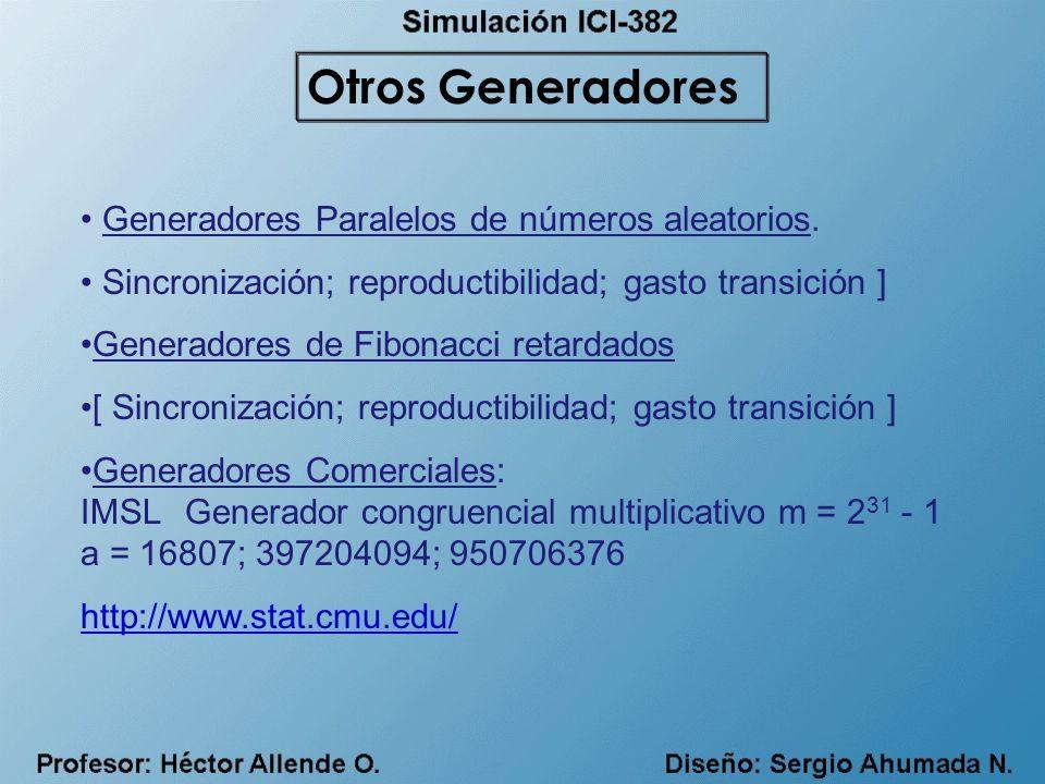 Generadores Paralelos de números aleatorios. Sincronización; reproductibilidad; gasto transición ] Generadores de Fibonacci retardados [ Sincronizació