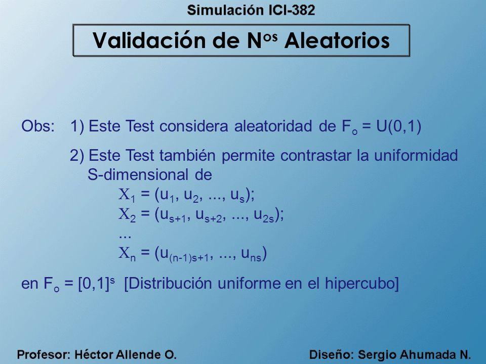 Obs:1) Este Test considera aleatoridad de F o = U(0,1) 2) Este Test también permite contrastar la uniformidad S-dimensional de X 1 = (u 1, u 2,..., u