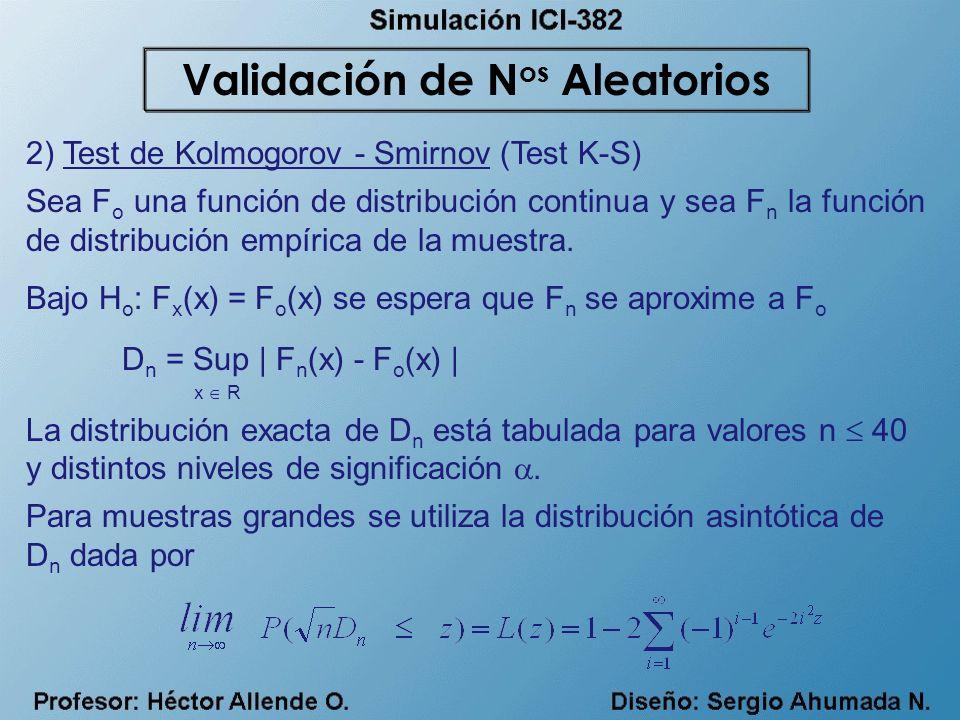 2) Test de Kolmogorov - Smirnov (Test K-S) Sea F o una función de distribución continua y sea F n la función de distribución empírica de la muestra. B