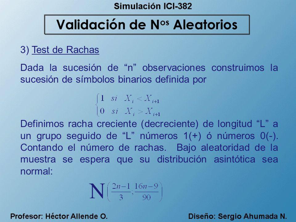 3) Test de Rachas Dada la sucesión de n observaciones construimos la sucesión de símbolos binarios definida por Definimos racha creciente (decreciente