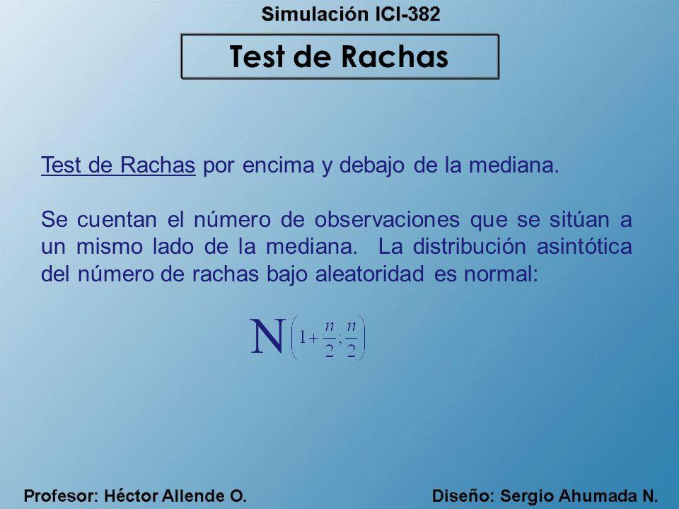 Test de Rachas por encima y debajo de la mediana. Se cuentan el número de observaciones que se sitúan a un mismo lado de la mediana. La distribución a