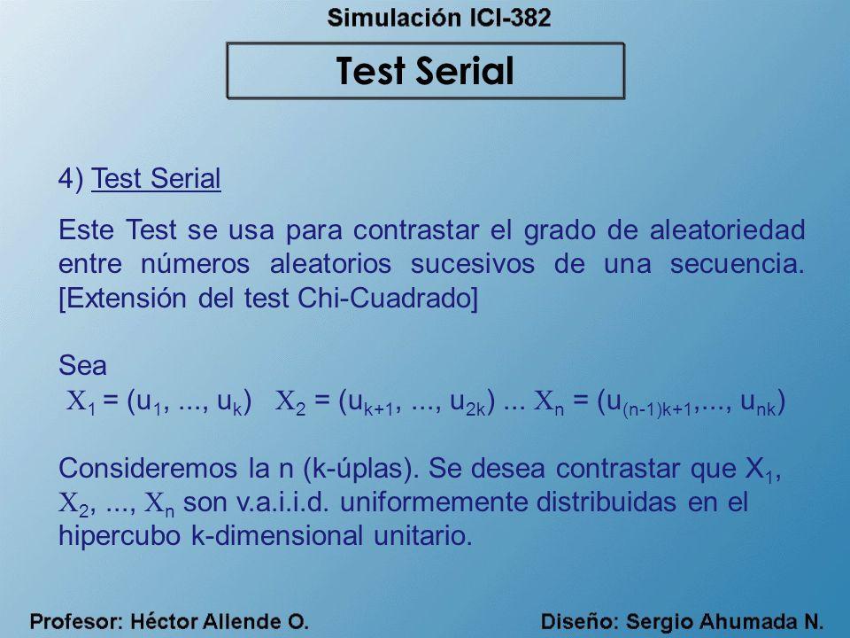 4) Test Serial Este Test se usa para contrastar el grado de aleatoriedad entre números aleatorios sucesivos de una secuencia. [Extensión del test Chi-