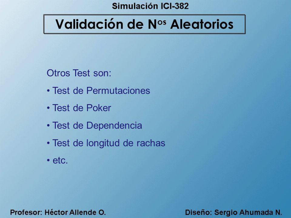 Otros Test son: Test de Permutaciones Test de Poker Test de Dependencia Test de longitud de rachas etc. Validación de N os Aleatorios
