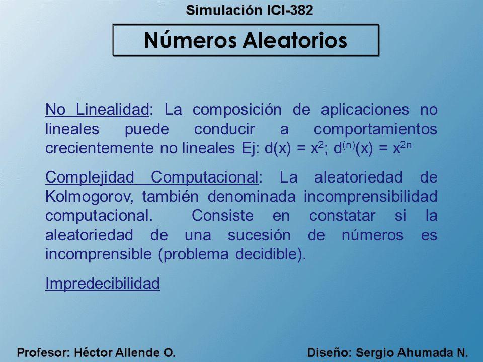 No Linealidad: La composición de aplicaciones no lineales puede conducir a comportamientos crecientemente no lineales Ej: d(x) = x 2 ; d (n) (x) = x 2