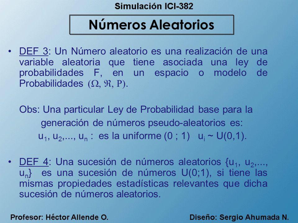 DEF 3: Un Número aleatorio es una realización de una variable aleatoria que tiene asociada una ley de probabilidades F, en un espacio o modelo de Prob