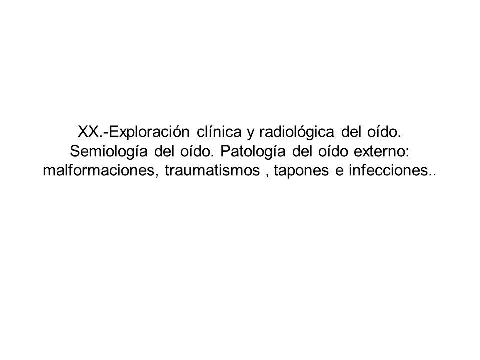 XX.-Exploración clínica y radiológica del oído. Semiología del oído. Patología del oído externo: malformaciones, traumatismos, tapones e infecciones..