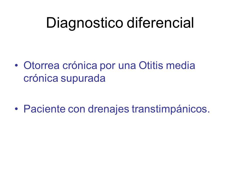 Diagnostico diferencial Otorrea crónica por una Otitis media crónica supurada Paciente con drenajes transtimpánicos.