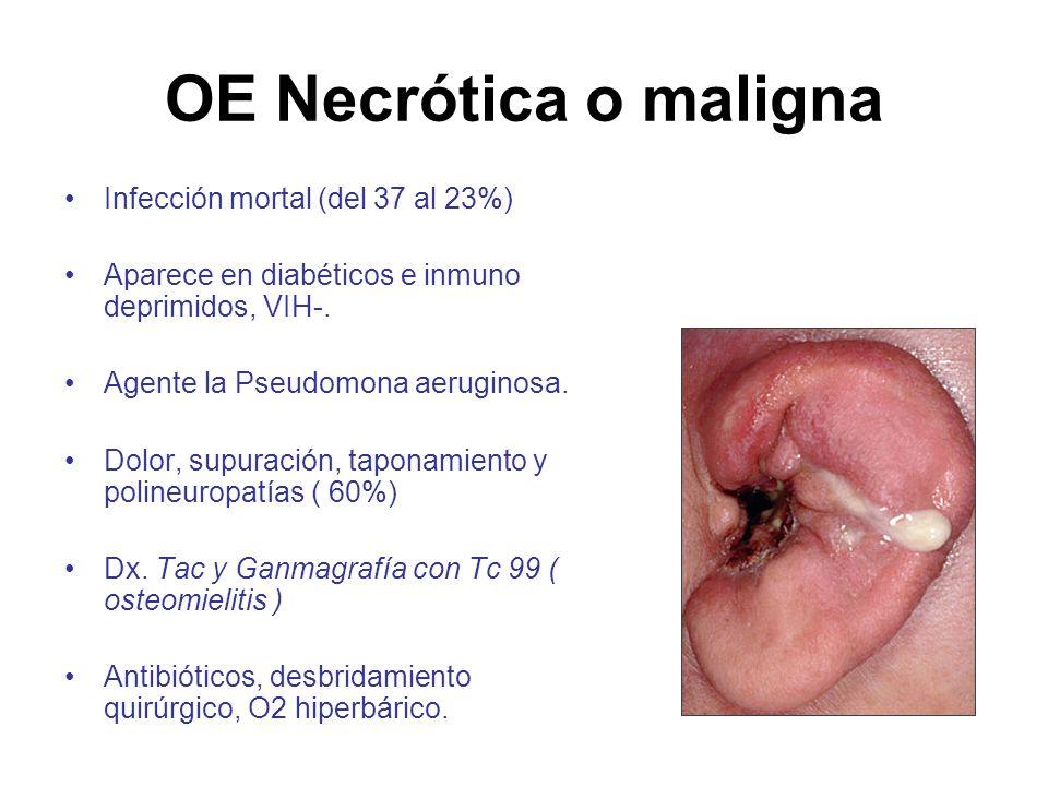 OE Necrótica o maligna Infección mortal (del 37 al 23%) Aparece en diabéticos e inmuno deprimidos, VIH-. Agente la Pseudomona aeruginosa. Dolor, supur