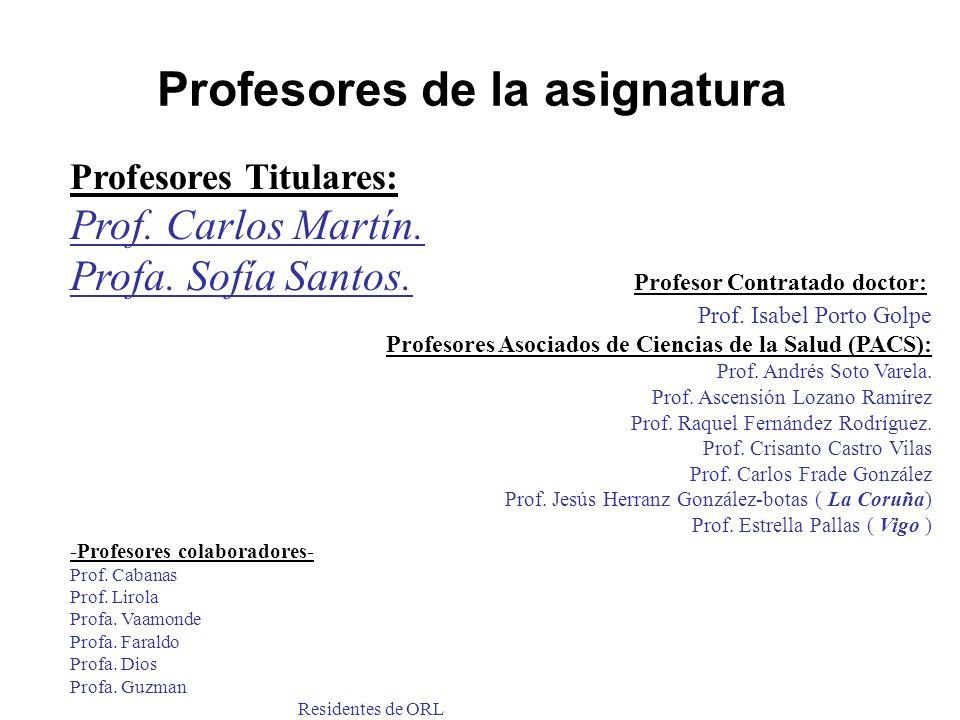 Profesores de la asignatura Profesores Titulares: Prof. Carlos Martín. Profa. Sofía Santos. Profesor Contratado doctor: Prof. Isabel Porto Golpe Profe