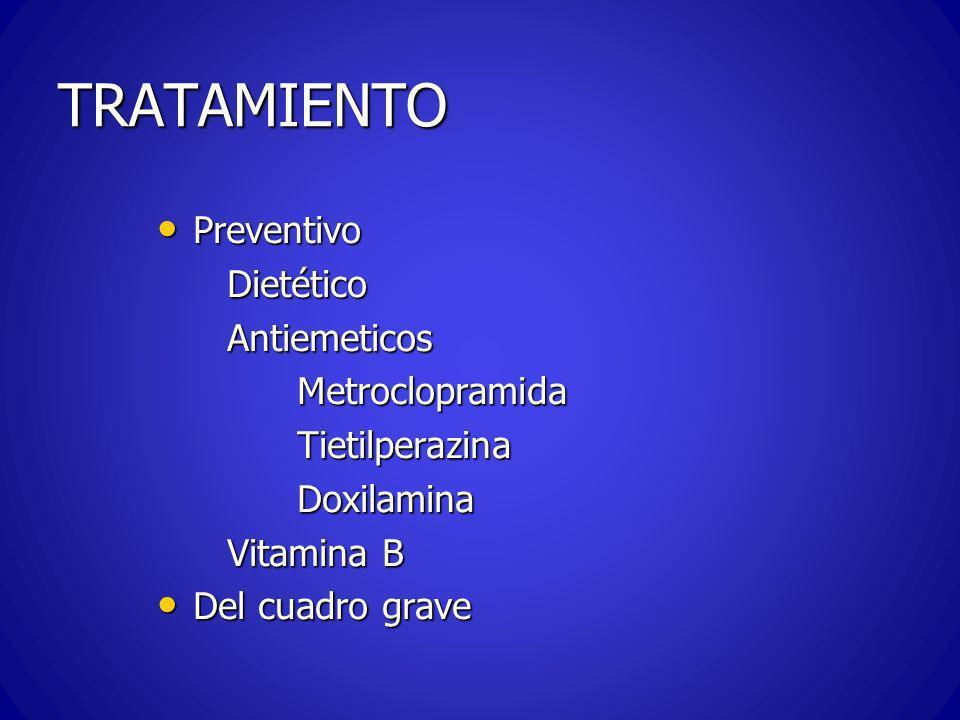 CUADRO AGUDO -TRATAMIENTO Aislamiento Aislamiento Sedación (benzodiacepina – promazina) Sedación (benzodiacepina – promazina) Rehidratación y correccíon electrolitica IV Rehidratación y correccíon electrolitica IV Corrección de los trastornos de PH Corrección de los trastornos de PH Antieméticos y vit por via IV Antieméticos y vit por via IV Alimentación parenteral Alimentación parenteral