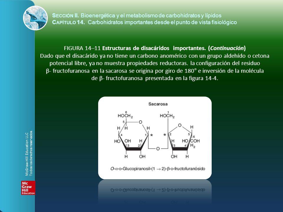 FIGURA 14–11 Estructuras de disacáridos importantes. (Continuación) Dado que el disacárido ya no tiene un carbono anomérico con un grupo aldehído o ce