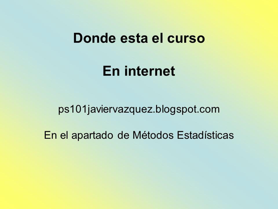 ps101javiervazquez.blogspot.com En el apartado de Métodos Estadísticas Donde esta el curso En internet