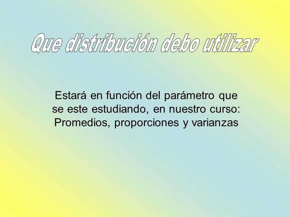 Promedio: Se utilizará la distribución de z o t Proporciones: Se utilizará la distribución t Varianza: Se utilizará la distribución de Chi cuadrada o F