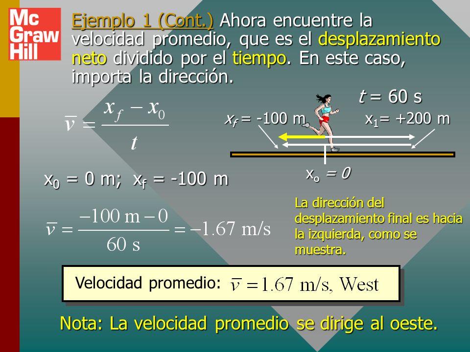 Ejemplo 1. Una corredora corre 200 m, este, luego cambia dirección y corre 300 m, oeste. Si todo el viaje tarda 60 s, ¿cuál es la rapidez promedio y c