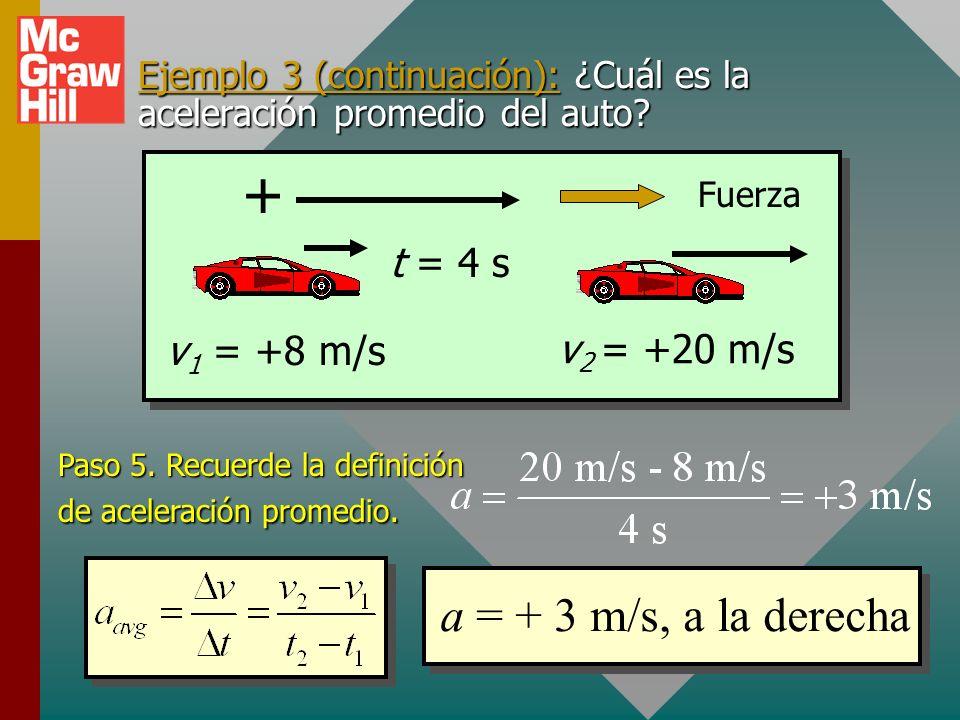 Ejemplo 3 (sin cambio en dirección): Una fuerza constante cambia la rapidez de un auto de 8 m/s a 20 m/s en 4 s. ¿Cuál es la aceleración promedio? Pas