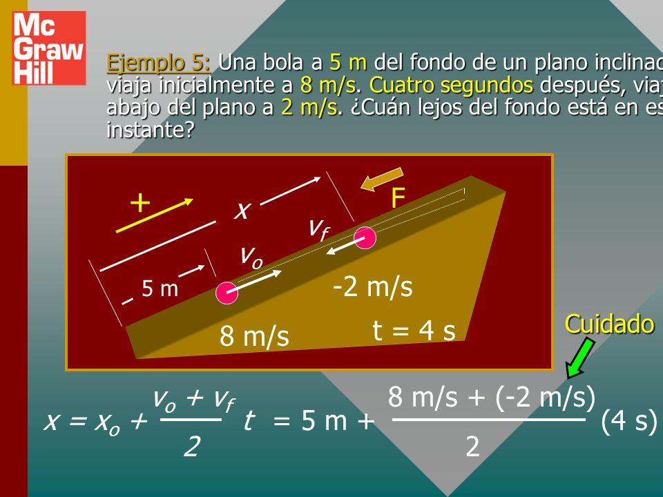 Velocidad para a constante Velocidad promedio: Al hacer t o = 0 y combinar lo que se tiene: