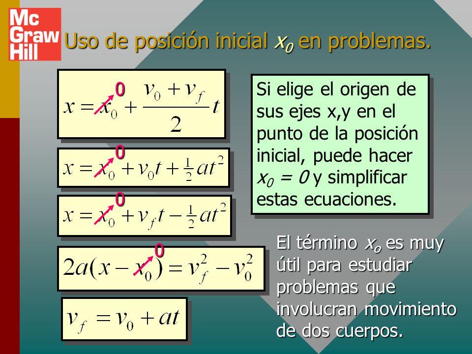 Fórmulas basadas en definiciones: Fórmulas derivadas Fórmulas derivadas: Sólo para aceleración constante