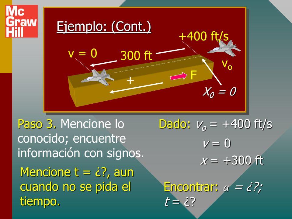 Ejemplo 6: Un avión que inicialmente vuela a 400 ft/s aterriza en la cubierta de un portaaviones y se detiene en una distancia de 300 ft. ¿Cuál es la
