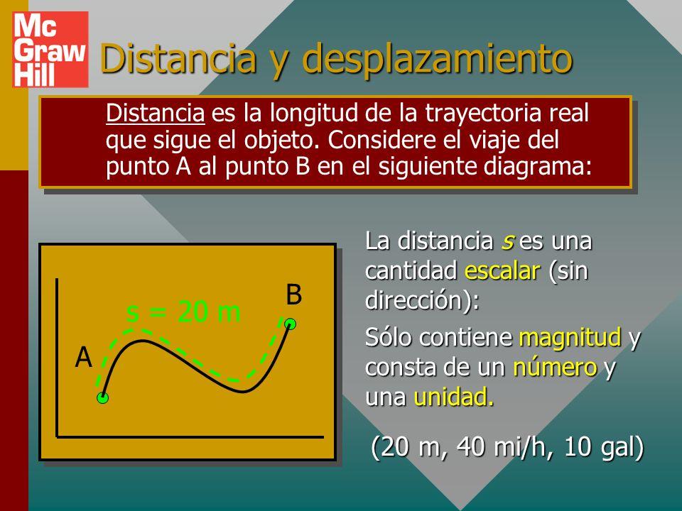 Distancia y desplazamiento Distancia es la longitud de la trayectoria real que sigue el objeto.