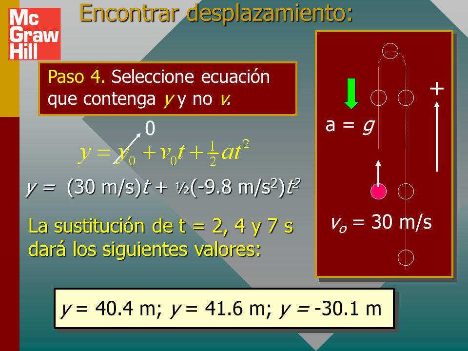 Ejemplo 7: Una bola se lanza verticalmente hacia arriba con una velocidad inicial de 30 m/s. ¿Cuáles son su posición y velocidad después de 2 s, 4 s y