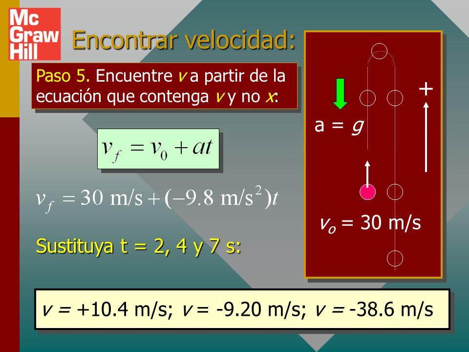 Encontrar desplazamiento: a = g + v o = 30 m/s 0 y = (30 m/s)t + ½ (-9.8 m/s 2 )t 2 La sustitución de t = 2, 4 y 7 s dará los siguientes valores: y =