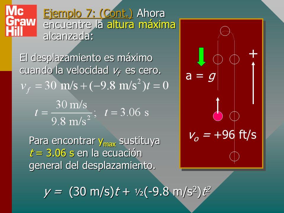 Encontrar velocidad: Paso 5. Encuentre v a partir de la ecuación que contenga v y no x: Sustituya t = 2, 4 y 7 s: v = +10.4 m/s; v = -9.20 m/s; v = -3