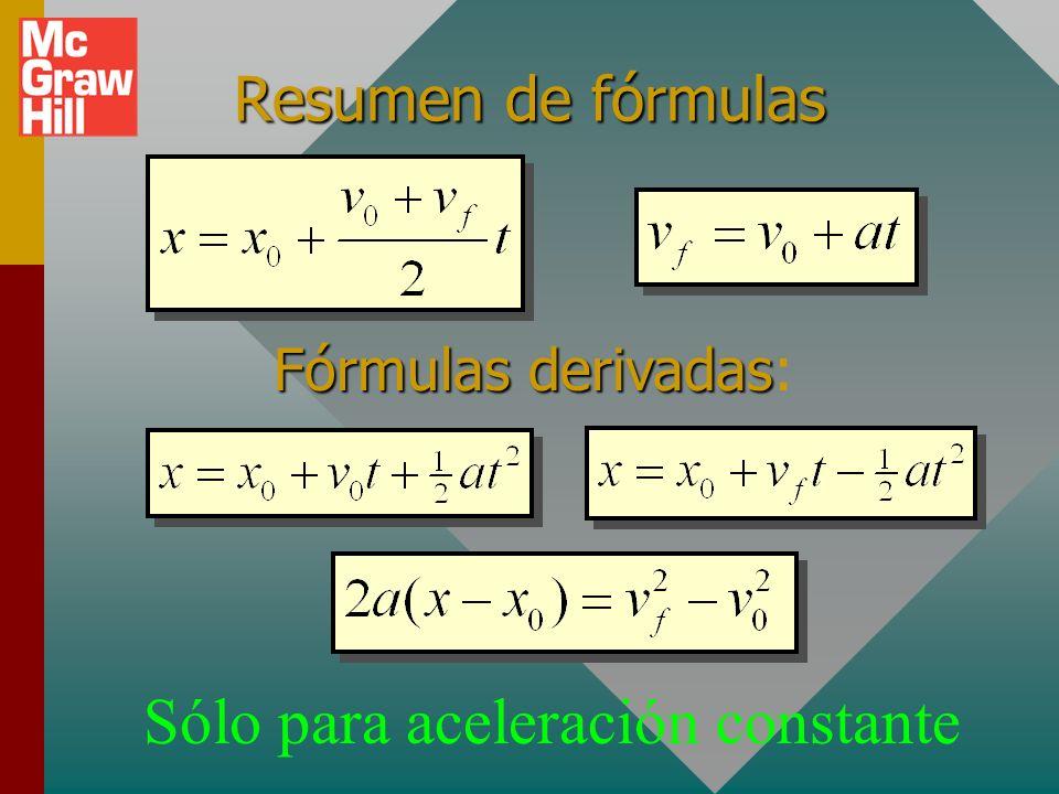Ejemplo 7: (Cont.) Encuentre la altura máxima: y = (30 m/s)t + ½ (-9.8 m/s 2 )t 2 a = g + v o =+30 m/s t = 3.06 s y = 91.8 m - 45.9 m Al omitir unidad