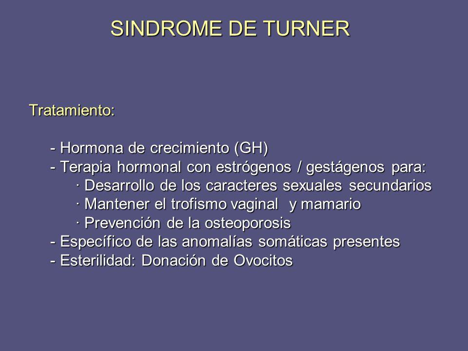 Tratamiento: - Hormona de crecimiento (GH) - Hormona de crecimiento (GH) - Terapia hormonal con estrógenos / gestágenos para: - Terapia hormonal con e