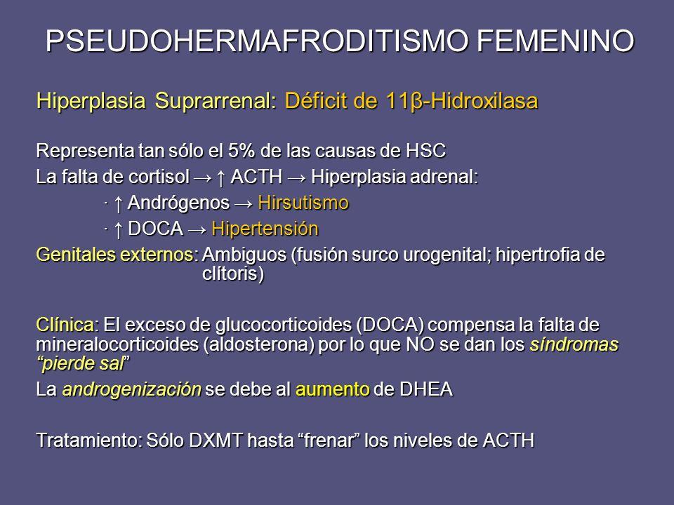 Hiperplasia Suprarrenal: Déficit de 11β-Hidroxilasa Representa tan sólo el 5% de las causas de HSC La falta de cortisol ACTH Hiperplasia adrenal: · An