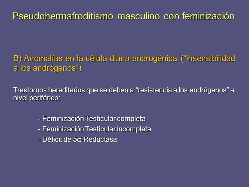B) Anomalías en la célula diana androgénica (insensibilidad a los andrógenos) Trastornos hereditarios que se deben a resistencia a los andrógenos a ni