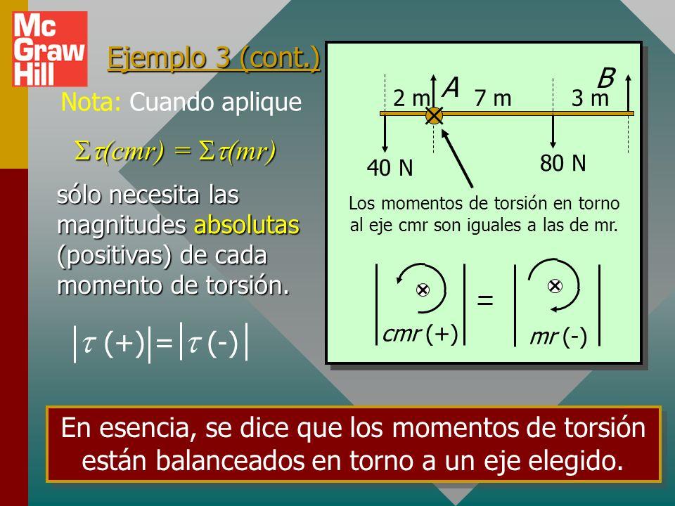 Ejemplo 3: Encuentre las fuerzas ejercidas por los soportes A y B. Desprecie el peso de la pluma de 10 m. 40 N80 N 2 m3 m7 m AB Dibuje diagrama de cue