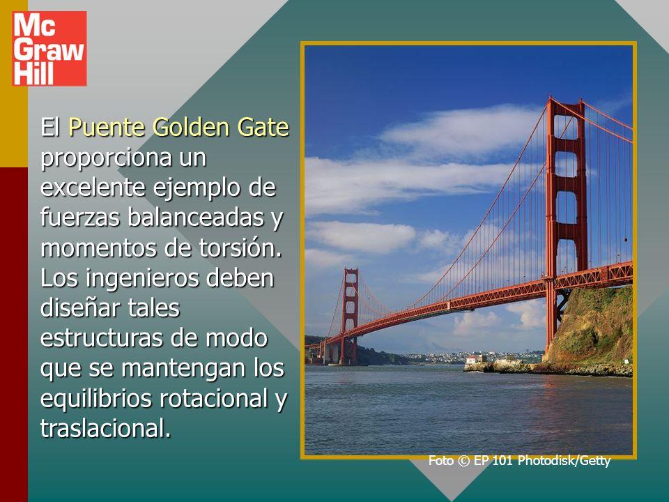 El Puente Golden Gate proporciona un excelente ejemplo de fuerzas balanceadas y momentos de torsión.