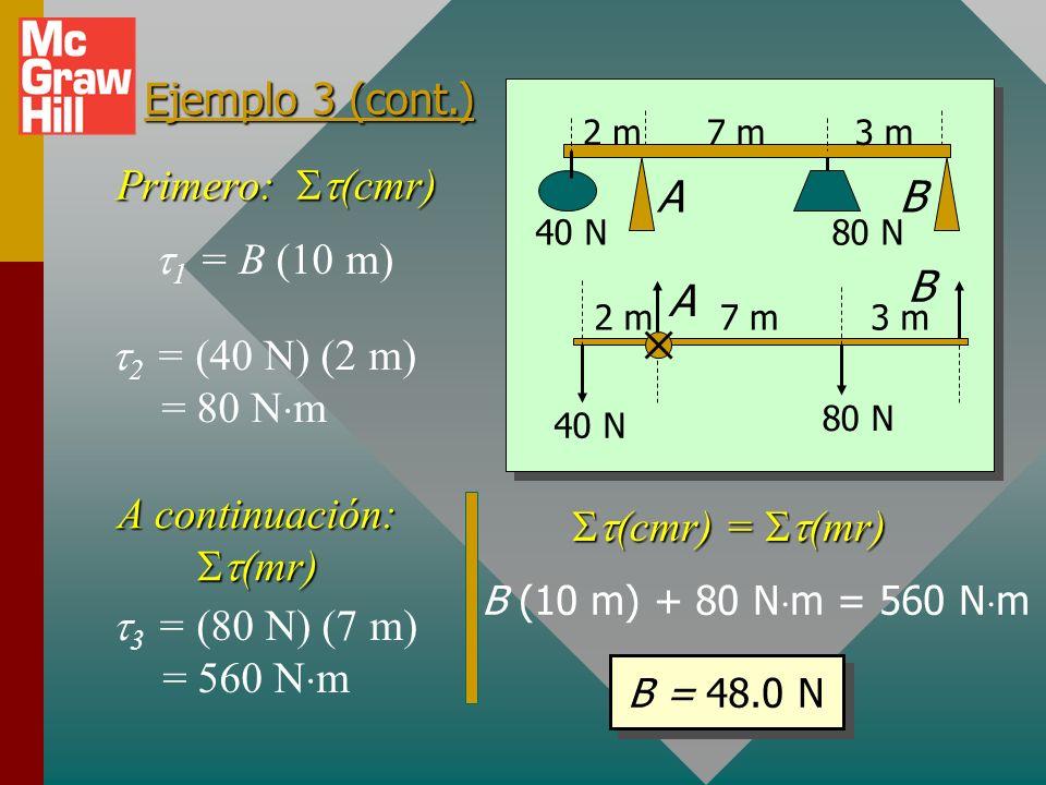 Ejemplo 3 (cont.) Equilibrio rotacional: o (cmr) = (mr) (cmr) = (mr) Con respecto al eje A: Momentos de torsión CMR: fuerzas B y 40 N. Momentos de tor