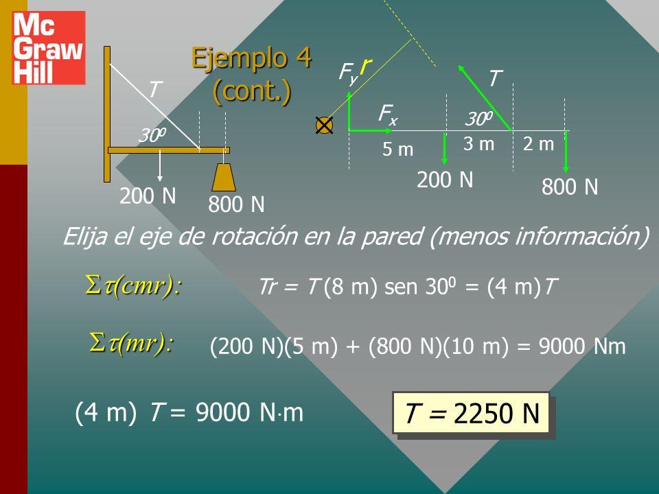 Ejemplo 4: Encuentre la tensión en la cuerda y la fuerza de la pared sobre la pluma. La pluma de 10 m pesa 200 N. La cuerda mide 2 m desde el extremo