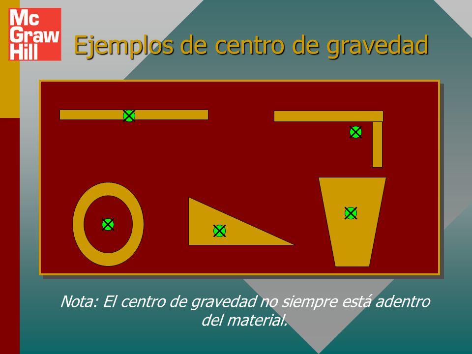 Centro de gravedad El centro de gravedad de un objeto es el punto donde se puede considerar que actúa todo el peso de un objeto con el propósito de tr