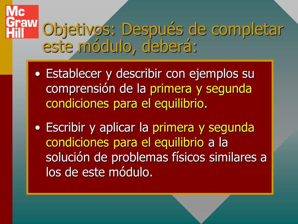 Objetivos: Después de completar este módulo, deberá: Establecer y describir con ejemplos su comprensión de la primera y segunda condiciones para el equilibrio.Establecer y describir con ejemplos su comprensión de la primera y segunda condiciones para el equilibrio.