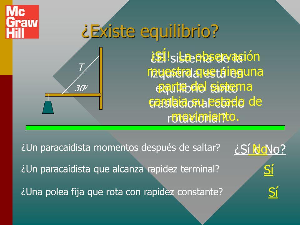 Equilibrio Se dice que un objeto está en equilibrio si y sólo si no hay fuerza resultante ni momento de torsión resultante.Se dice que un objeto está