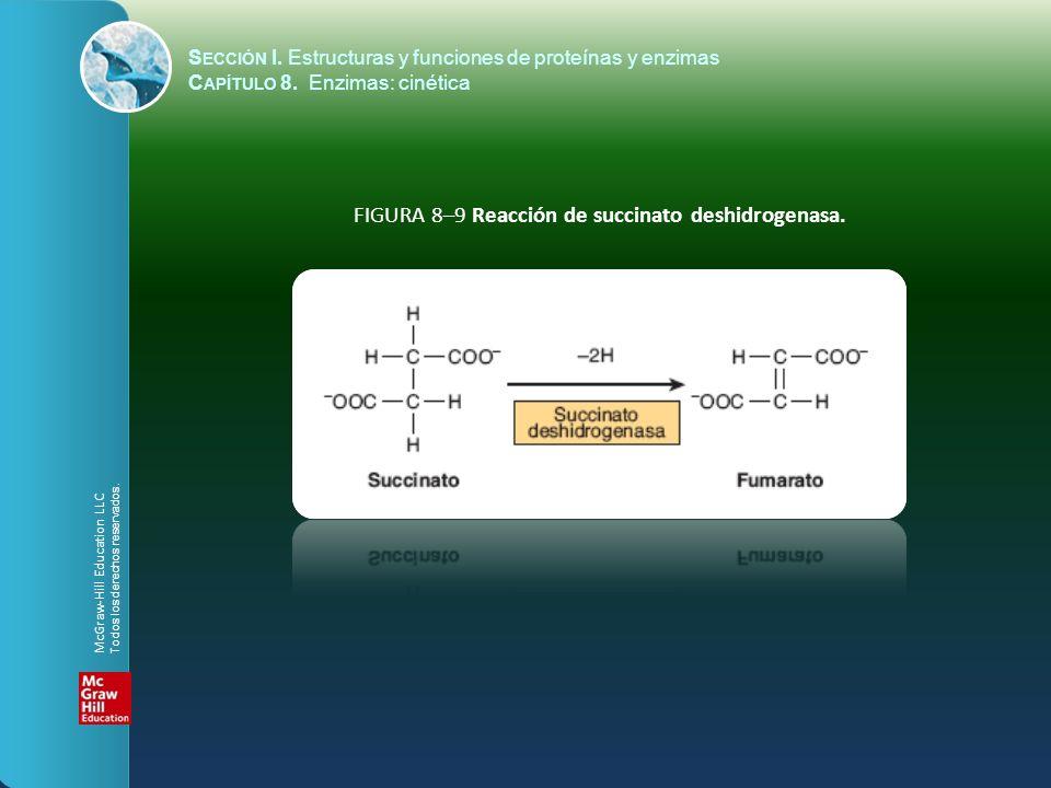FIGURA 8–9 Reacción de succinato deshidrogenasa. S ECCIÓN I. Estructuras y funciones de proteínas y enzimas C APÍTULO 8. Enzimas: cinética McGraw-Hill
