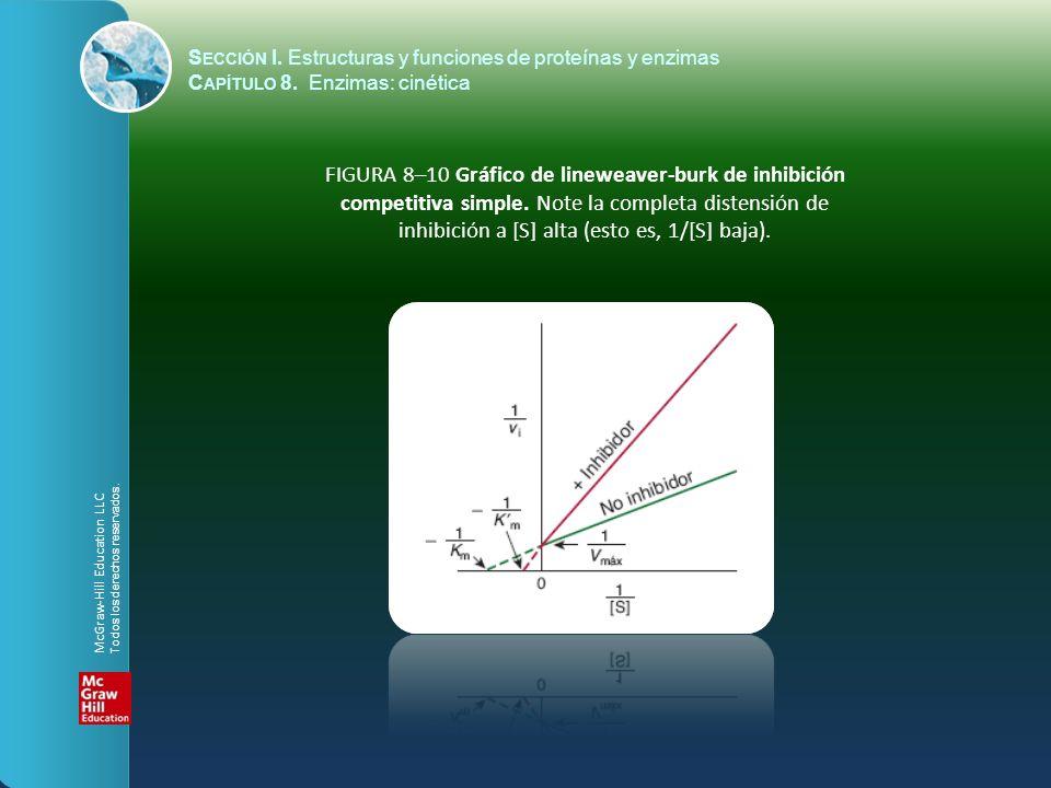 FIGURA 8–10 Gráfico de lineweaver-burk de inhibición competitiva simple. Note la completa distensión de inhibición a [S] alta (esto es, 1/[S] baja). S