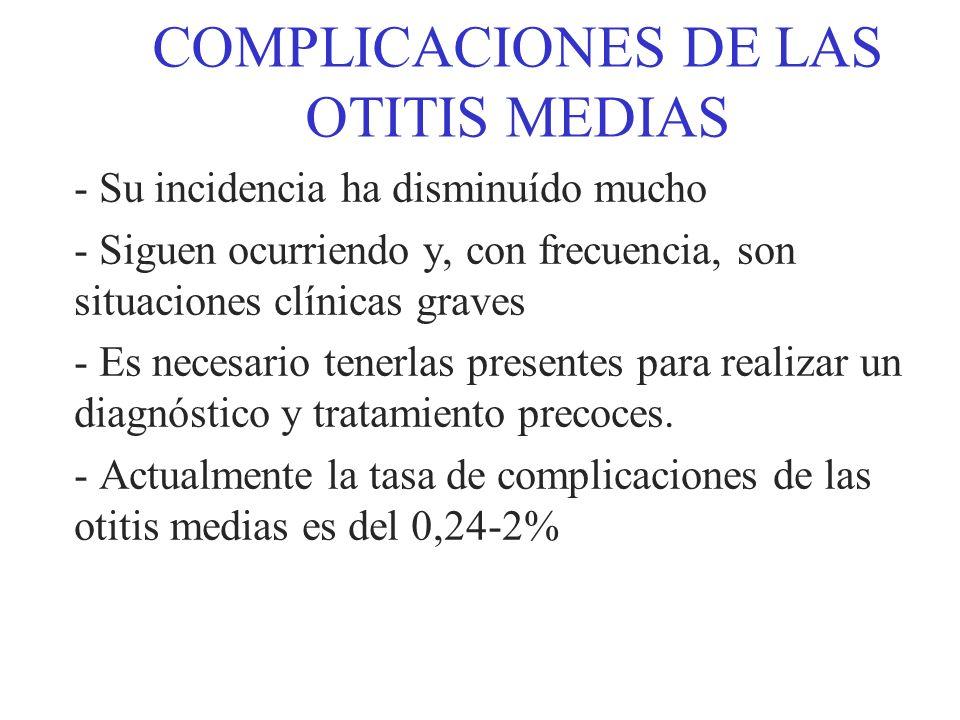 COMPLICACIONES DE LAS OTITIS MEDIAS FACTORES PREDISPONENTES: - Factores anatómicos - Modificaciones quirúrgicas - Tipo de otitis (aguda o crónica) - Existencia o no de un colesteatoma - Edad: Niños (O.M.A.) Adultos (O.M.C.