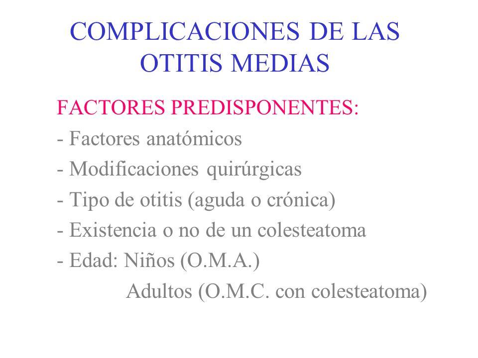 COMPLICACIONES DE LAS OTITIS MEDIAS -INTRACRANEALES: * MENINGITIS * ABSCESO EXTRADURAL * ABSCESO SUBDURAL * ABSCESO CEREBRAL O CEREBELOSO * TROMBOFLEBITIS DEL SENO LATERAL