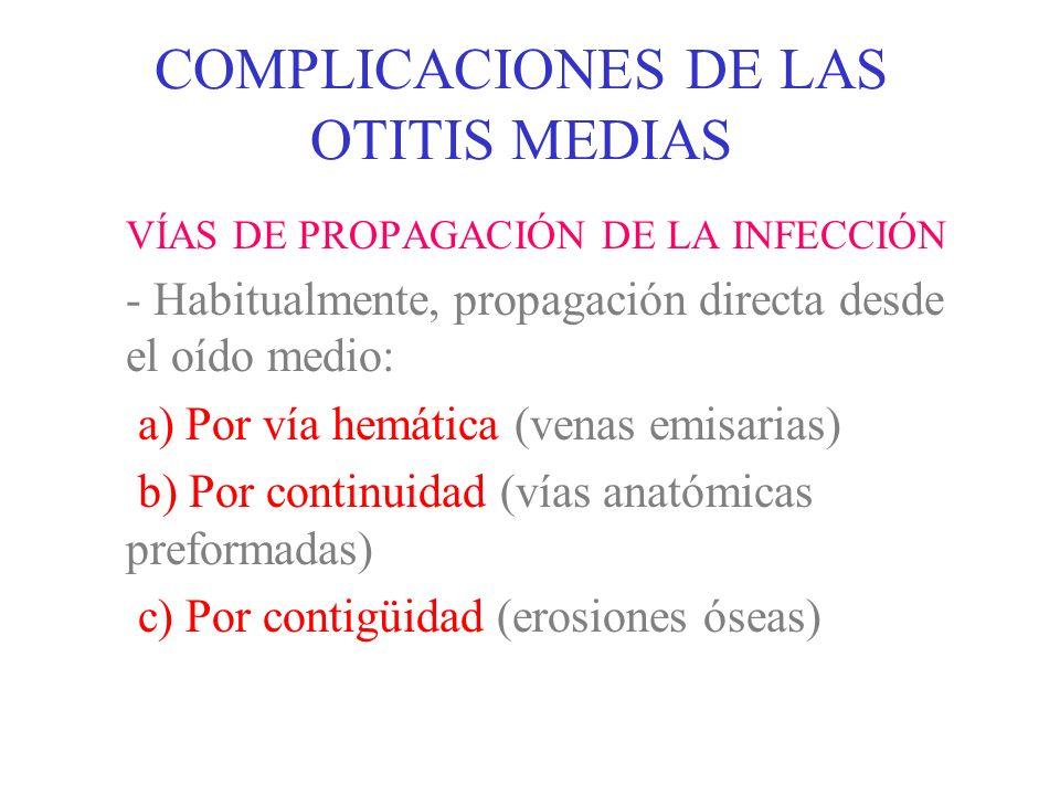 COMPLICACIONES DE LAS OTITIS MEDIAS BACTERIOLOGÍA: - O.M.A.: Neumococo Hemophilus influenzae Otros (estreptococo, etc.) - O.M.C.: Pseudomona aeruginosa Proteus sp.