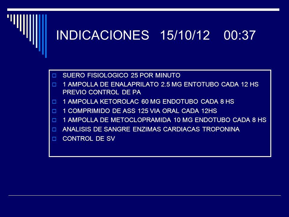 INDICACIONES 15/10/12 00:37 SUERO FISIOLOGICO 25 POR MINUTO 1 AMPOLLA DE ENALAPRILATO 2.5 MG ENTOTUBO CADA 12 HS PREVIO CONTROL DE PA 1 AMPOLLA KETORO