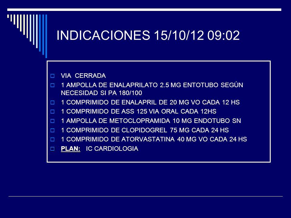 INDICACIONES 15/10/12 09:02 VIA CERRADA 1 AMPOLLA DE ENALAPRILATO 2.5 MG ENTOTUBO SEGÚN NECESIDAD SI PA 180/100 1 COMPRIMIDO DE ENALAPRIL DE 20 MG VO