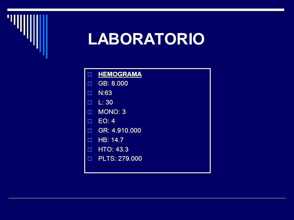 LABORATORIO HEMOGRAMA GB: 8.000 N:63 L: 30 MONO: 3 EO: 4 GR: 4.910.000 HB: 14.7 HTO: 43.3 PLTS: 279.000