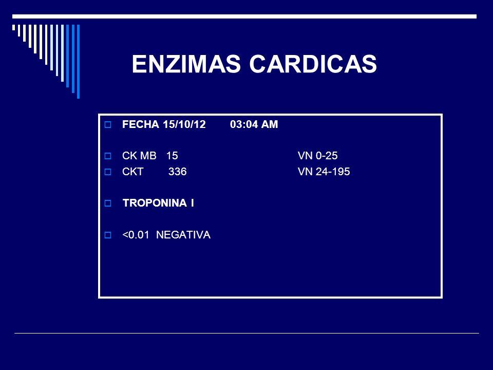 ENZIMAS CARDICAS FECHA 15/10/12 03:04 AM CK MB 15 VN 0-25 CKT 336 VN 24-195 TROPONINA I <0.01 NEGATIVA
