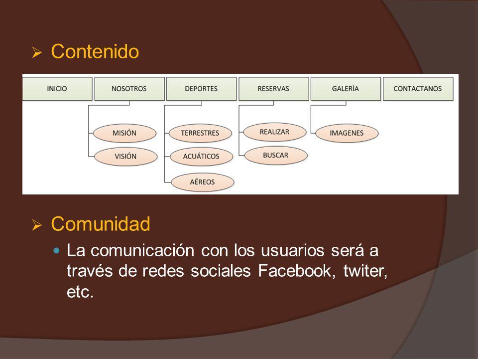 Contenido Comunidad La comunicación con los usuarios será a través de redes sociales Facebook, twiter, etc.